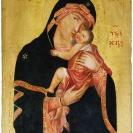 <p>Matka Boska z Dzieciątkiem, autor nieznany<br />lico, 30x40 cm, tempera, deska dębowa / 1725</p>