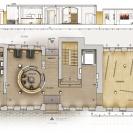 <p>Rzut parteru:<br />hall gł&oacute;wny, kawiarnia wraz z zapleczem socjalnym,<br />toalety dla gości, sala wystaw czasowych</p>