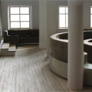 <p>First floor &ndash; audio room &ndash; viewing seats, listening booth in the background<br />model at a scale of 1:20</p>
