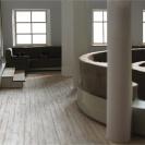 <p>I piętro &ndash; sala audio &ndash; siedzisko do oglądania projekcji, w tle stanowiska do słuchania muzyki<br />makieta, skala 1:20</p>